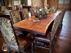 Rustic dining table - live edge wood slabs Littlebranch Farm