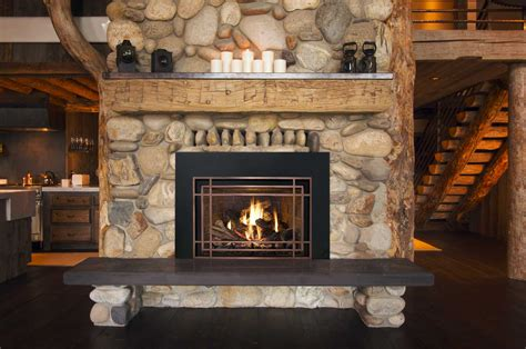 gas fireplace river rocks 25 interior fireplace designs