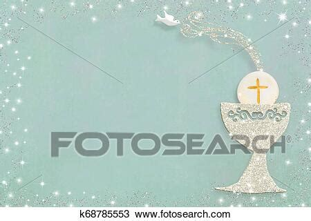 First holy communion invitation card Stock Image
