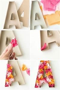 Letras de cartón decoradas con papel de seda DECORACIÓN FIESTAS