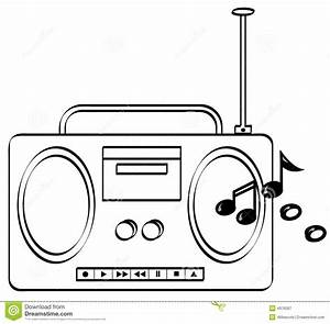 Boombox with music playing stock vector. Illustration of ...