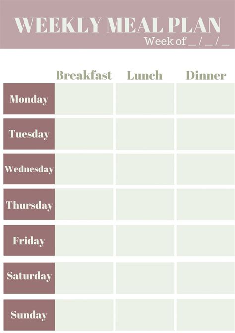 Meal Plan Template Weekly Meal Planning Template My Wifestyles
