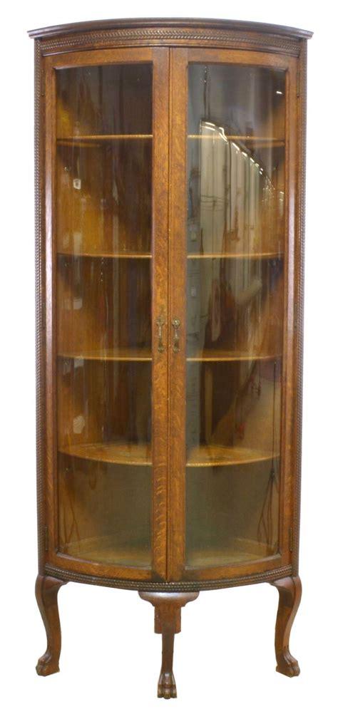 antique oak corner china cabinet american oak corner china cabinet 7482