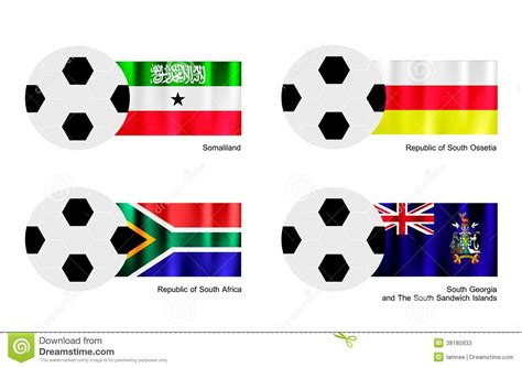 Football With Somaliland, South Ossetia, South Afr Stock