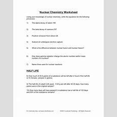 Nuclear Chemistry Half Life Worksheet