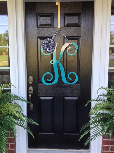 initial monogram front door wreath  housesensations  etsy