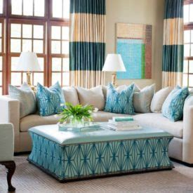 striped carpet and gold curtains home decorating trends