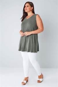Khaki Stud Embellished Fine Knit Sleeveless Swing Top Plus
