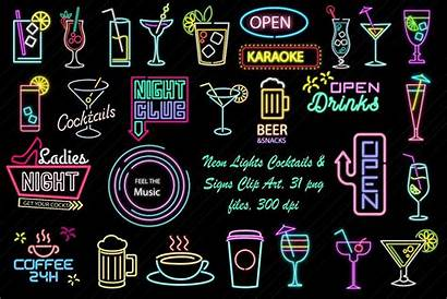 Neon Cocktail Signs Lights Clip Cartoon Cocktails