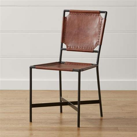 blue leather armless dining chair