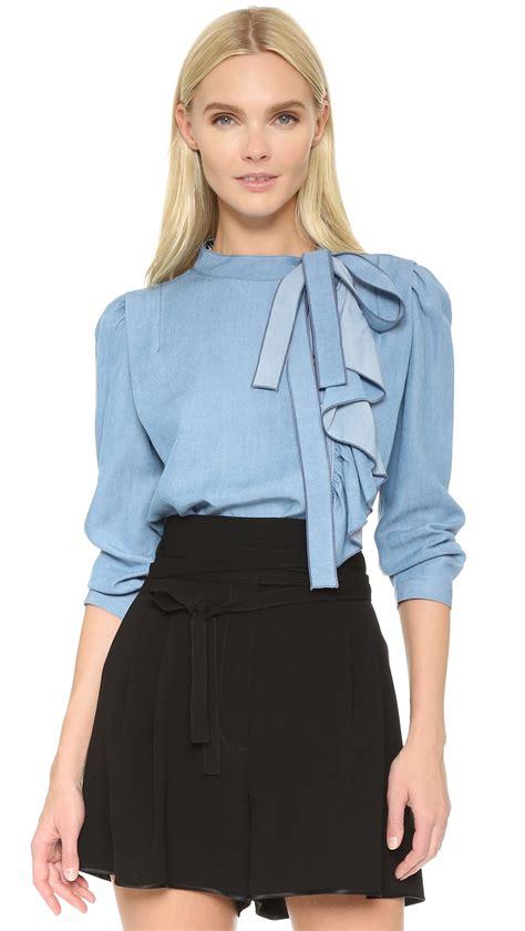 light blue blouse for women marc jacobs ruffle blouse in blue lyst