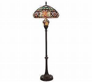 Tiffany style splendid garden floor lamp with lit base by for Tiffany floor lamp qvc