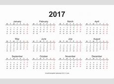yearly calendar 2017 monthly calendar 2017