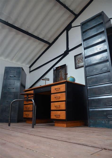 classeur bureau classeur métallique 4 tiroirs meuble bleu vintage meuble