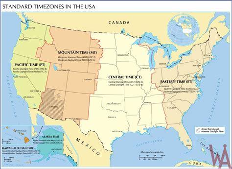 standard time zone map usa whatsanswer