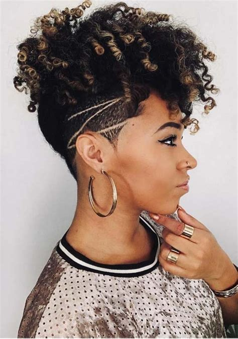 undercut short curls  black women   stylezco