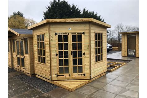skinners sheds pressure treated corner pent summerhouse