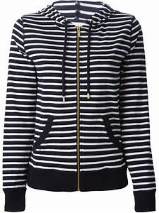 michael michael kors striped cotton hoodie in blue lyst