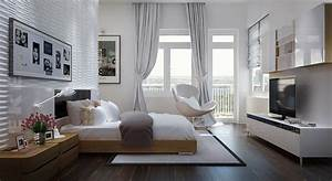 Tuananh ekes modern white bedroom with heavy silver for Modern bedroom window coverings
