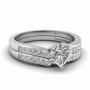 heart shaped diamond channel bridal set in 14k white gold With heart shaped wedding rings bridal set