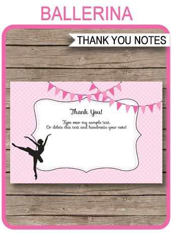 printable ballerina party   cards ballet