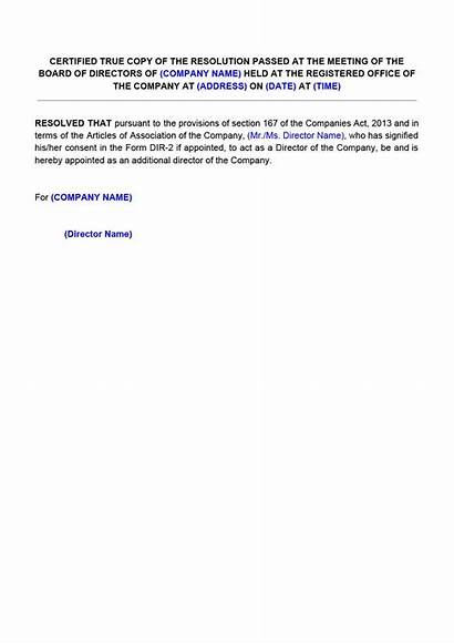 Board Appointment Director Resolution Sample Letter Company