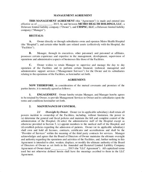 sample business management agreement  examples  word