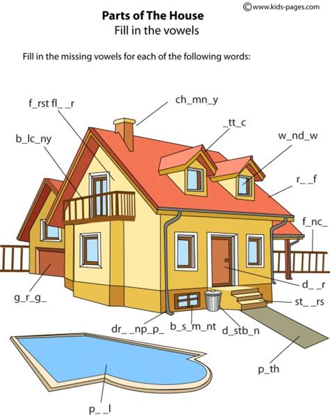 house parts  worksheet