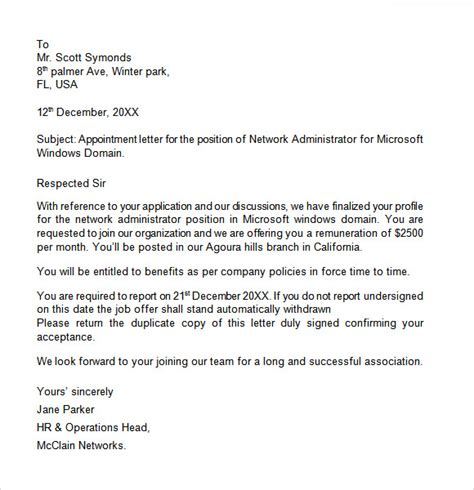 appointment letter   samples examples format