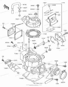Kawasaki Motorcycle 2016 Oem Parts Diagram For Cylinder Head  U0026 Cylinder
