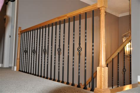 Rustic Modern Kitchen Ideas - wrought iron spindles with enchanting stair parts railing 44 in x 1 2 in satin black single
