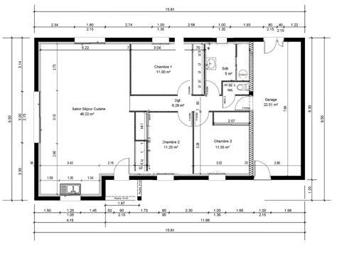 appartement 3 chambres plan maison 95m2