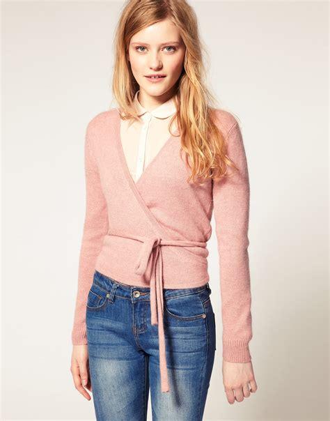 wrap sweater cardigan lyst asos collection asos ballet wrap cardigan in pink