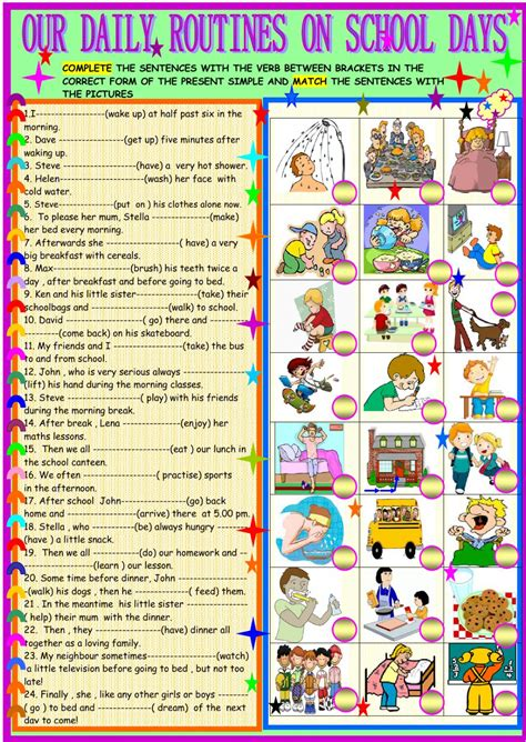 daily routines  school days interactive worksheet