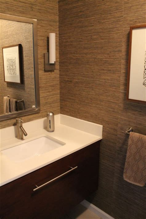 Brushed Nickel Bath Faucet by Powder Room With Grasscloth Wallpaper Walnut Stained