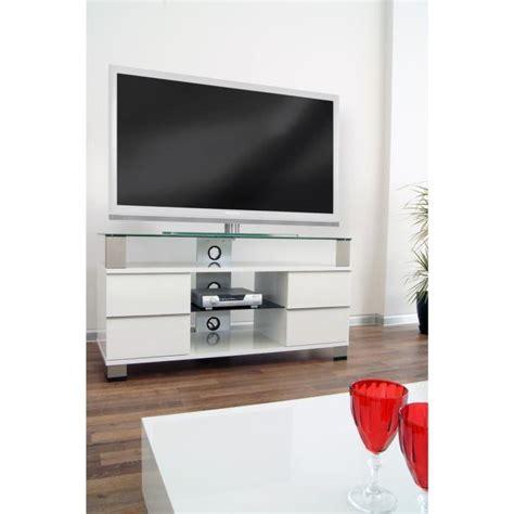 pone meuble tv avec support lcd led 120cm blanc achat vente meuble tv pone meuble tv avec