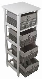 Etagere De Placard : meuble salle de bain bois gris 4 paniers osier palma campagne placard et tag re de salle de ~ Melissatoandfro.com Idées de Décoration