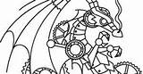 Wyvern Steampunk Coloring sketch template
