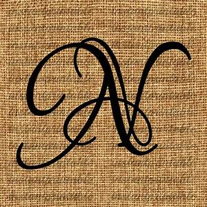 Monogram Initial Letter N Letter Clip Art by ...