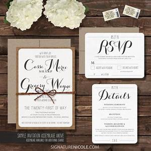 sample rustic wedding invitation with rsvp and detail With examples of diy wedding invitations