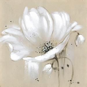 Toile Blanche A Peindre : toile beige fleurs blanches couteau peinture l 39 huile mur ~ Premium-room.com Idées de Décoration