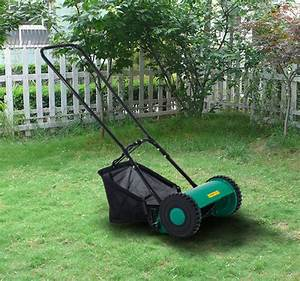 Outsunny Hand Push Lawn Adjustable Reel Mower W   Grass