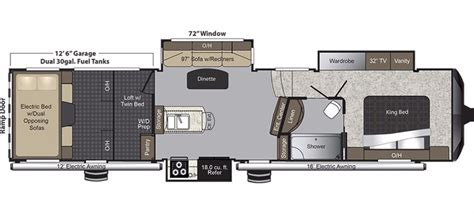 Attitude 5th Wheel Hauler Floor Plans by New 2017 Keystone Raptor 352ts Fifth Wheel Hauler For