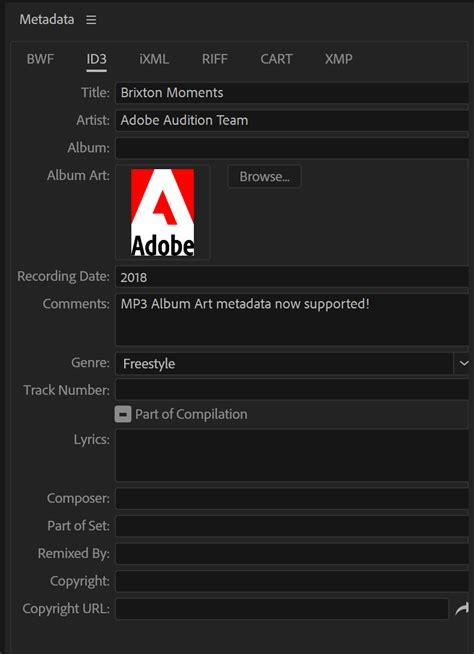 metadata panel  view  edit xmp metadata