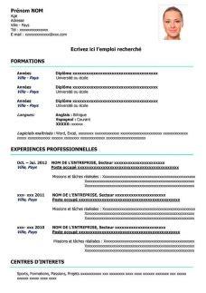 resume format modele de cv  remplir gratuit