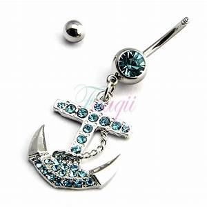 Surgical Steel Crystal Anchor Belly Button Ring 8# JW290 ...