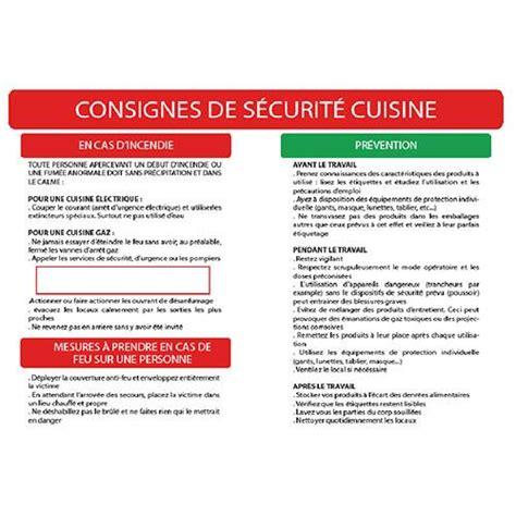 sécurité cuisine consignes de securite cuisine a3