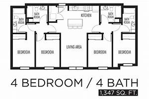 4 bedroom apartment floor plan ideas 4 bedroom apartments for Layout for 4 bedroom house