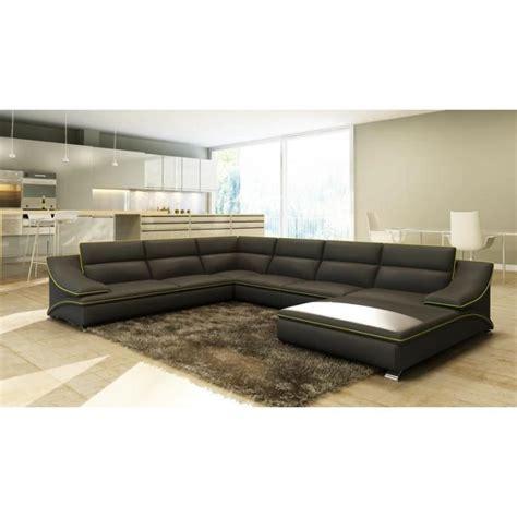 grand canape grand canapé d 39 angle en cuir gris et vert design achat