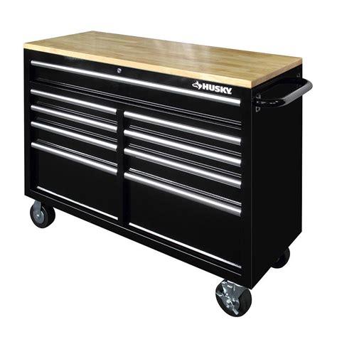 husky    drawer mobile workbench  solid wood top
